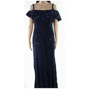 Nightway Gown Sequin Lace Dress Cold Shoulder Long